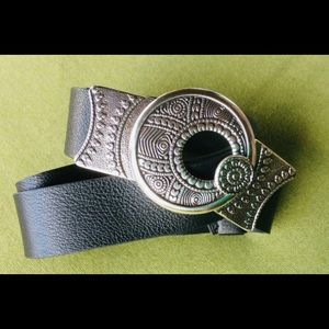 Chico's Silver Buckle, Black Pebbled Leather Belt